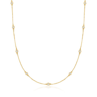 C. 1990 Vintage 1.65 ct. t.w. Diamond Station Necklace in 14kt Yellow Gold