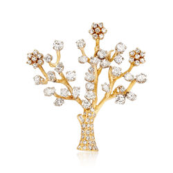 C. 1980 Vintage 4.95 ct. t.w. Diamond Tree Pin in 14kt Yellow Gold, , default