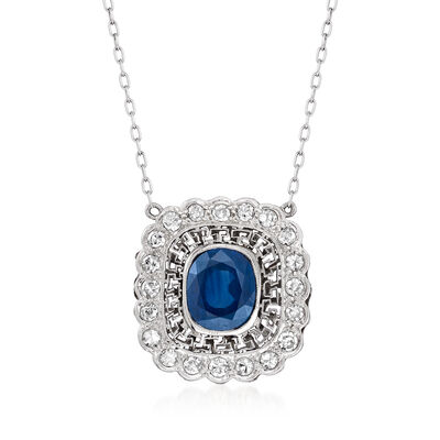 C. 2000 Vintage 2.70 Carat Sapphire and .60 ct. t.w. Diamond Necklace in Platinum