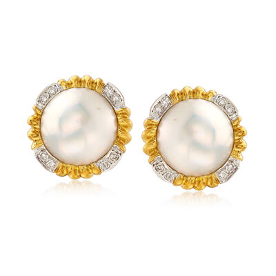 C. 1980 Vintage 15mm Cultured Mabe Pearl and .35 ct. t.w. Diamond Earrings in 18kt Yellow Gold, , default