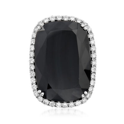 C. 1990 Vintage Black Onyx Ring with 1.15 ct. t.w. Diamonds in 18kt White Gold