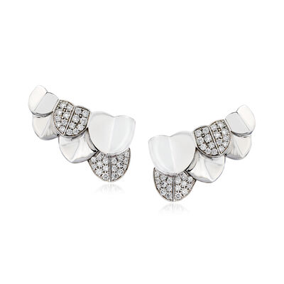 """C. 1990 Vintage Fred """"Une Ile D'Or"""" .88 ct. t.w. Diamond Earrings in 18kt White Gold"""