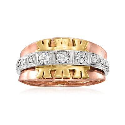 C. 1970 Vintage .50 ct. t.w. Diamond Fashion Ring in 14kt Tri-Colored Gold