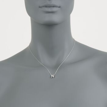 "Roberto Coin Tiny Treasures Diamond N Necklace in 18-Karat White Gold. 16"", , default"