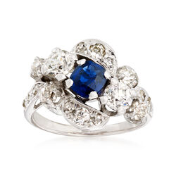 C. 1950 Vintage 1.25 ct. t.w. Diamond and .45 Carat Sapphire Cocktail Ring in 14kt White Gold, , default
