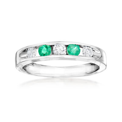 C. 1990 Vintage Giantti .30 ct. t.w. Emerald and .30 ct. t.w. Diamond Band in 18kt White Gold, , default