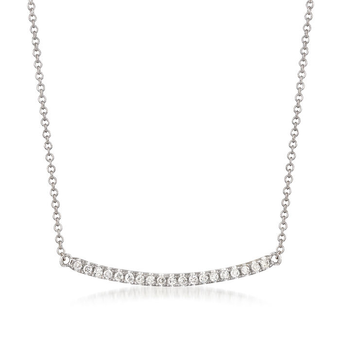 Gabriel Designs .19 ct. t.w. Diamond Curved Bar Necklace in 14kt White Gold