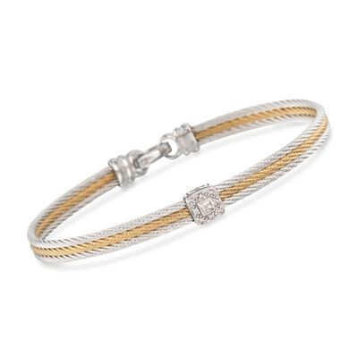 """ALOR """"Classique"""" Two-Tone Stainless Steel Cable Bracelet with Diamonds and 18kt White Gold, , default"""