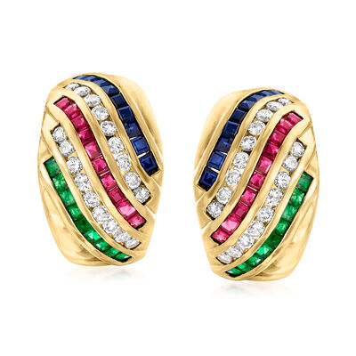 C. 1980 Vintage 4.10 ct. t.w. Multi-Gem and .75 ct. t.w. Diamond Row Earrings in 18kt Yellow Gold