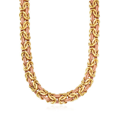 C. 1990 Vintage 18kt Two-Tone Gold Byzantine Necklace