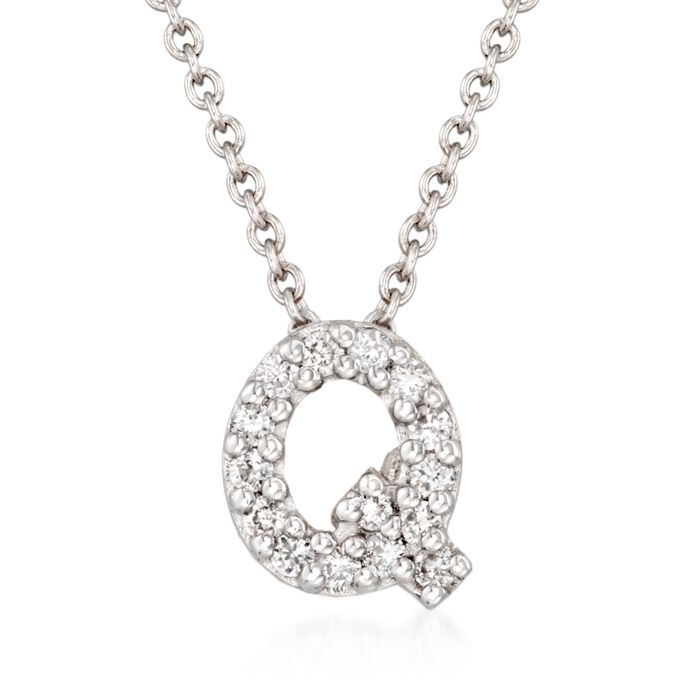 "Roberto Coin Tiny Treasures Diamond Q Necklace in 18-Karat White Gold. 16"", , default"