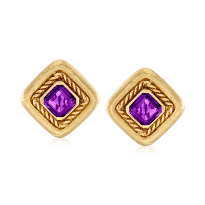 C. 1980 Vintage 8.00 ct. t.w. Amethyst Earrings in 18kt Yellow Gold, , default