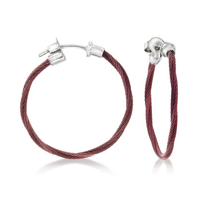 "ALOR ""Classique"" Burgundy Stainless Steel Hoop Earrings with 18kt White Gold, , default"