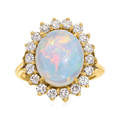 C. 1980 Vintage Opal and 1.10 ct. t.w. Diamond Ring in 14kt Yellow Gold