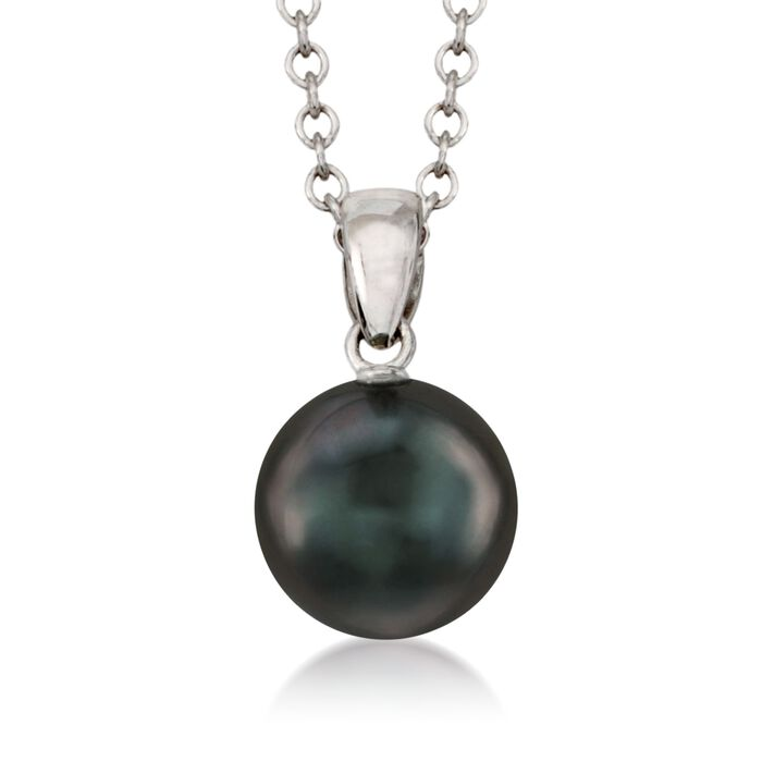 "Mikimoto 9mm Black Cultured South Sea Pearl Necklace. 18"", , default"