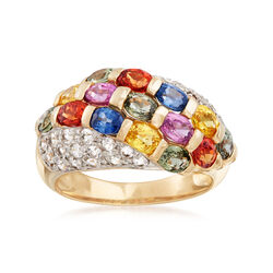C. 1990 Vintage 4.75 ct. t.w. Multicolored Sapphire Ring in 14kt Yellow Gold, , default