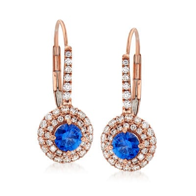 C. 1980 Vintage .70 ct. t.w. Sapphire and .58 ct. t.w. Diamond Drop Earrings in 18kt Rose Gold