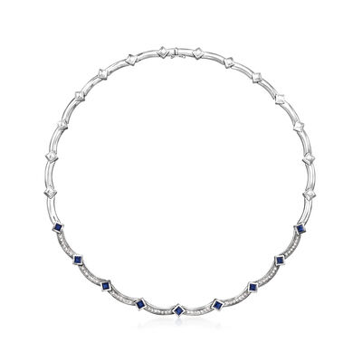 C. 2000 Vintage 2.25 ct. t.w. Sapphire and 1.00 ct. t.w. Diamond Necklace in 14kt White Gold