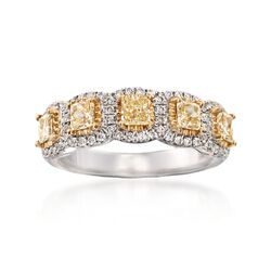 Henri Daussi 1.19 ct. t.w. Fancy Light Yellow and White Diamond Five-Stone Wedding Ring in 18kt White Gold, , default