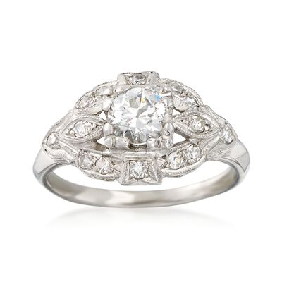 C. 1980 Vintage .75 ct. t.w. Diamond Milgrain Ring in Platinum, , default