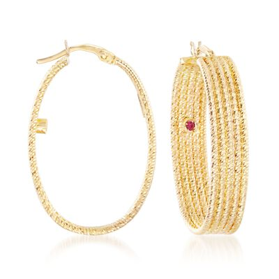 Roberto Coin 18kt Yellow Gold Ribbed Hoop Earrings, , default