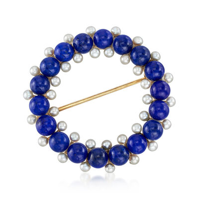 C. 1950 Vintage Lapis and 2.2mm Cultured Pearl Circle Pin in 14kt Yellow Gold, , default