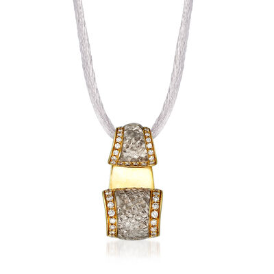 C. 1990 Vintage Quartz and .53 ct. t.w. Diamond Necklace in 18kt Yellow Gold with Silk Cord, , default