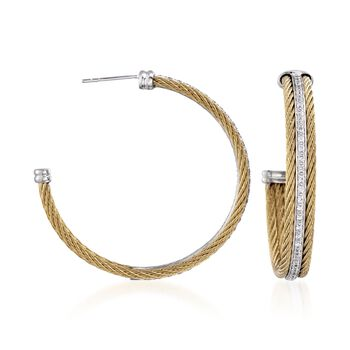 ALOR Classique .56 Carat Total Weight Diamond and Cable Hoops in Stainless Steel and 18-Karat White Gold, , default