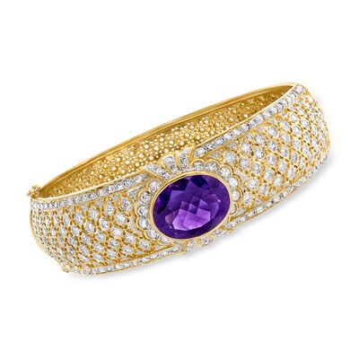 C. 1980 Vintage 10.00 Carat Amethyst and 4.50 ct. t.w. Diamond Bangle Bracelet in 18kt Yellow Gold