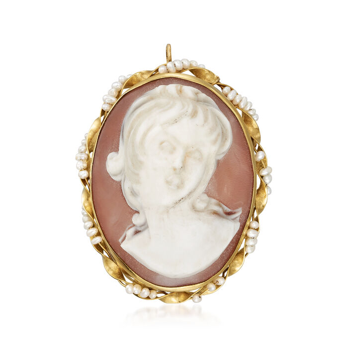C. 1940 Vintage Oval Pink Shell Cameo and Seed Pearl Pin/Pendant in 14kt Yellow Gold, , default