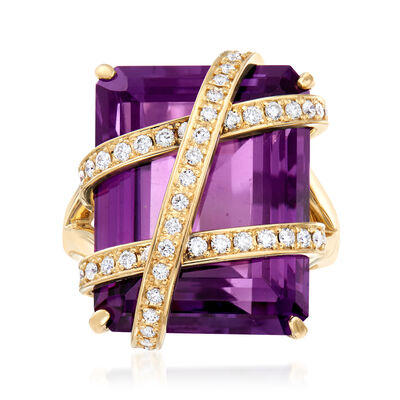 C. 1990 Vintage 28.54 Carat Amethyst and .54 ct. t.w. Diamond Cocktail Ring in 18kt Yellow Gold