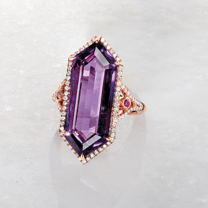 12.00 Carat Amethyst and .47 ct. t.w. Diamond Hexagon Ring with Rhodolite Garnet Accents in 14kt Rose Gold