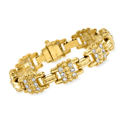 C. 1990 Vintage Judith Ripka 3.05 ct. t.w. Diamond Link Bracelet in 18kt Yellow Gold