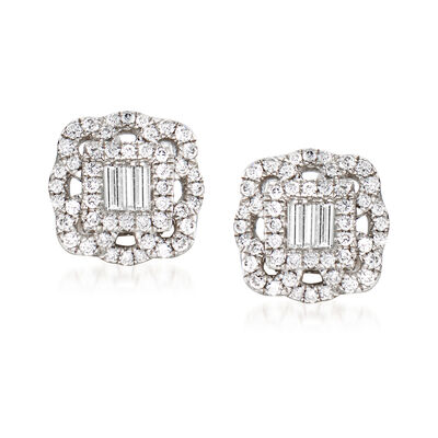 Gregg Ruth .62 ct. t.w. Diamond Lace Stud Earrings in 18kt White Gold, , default