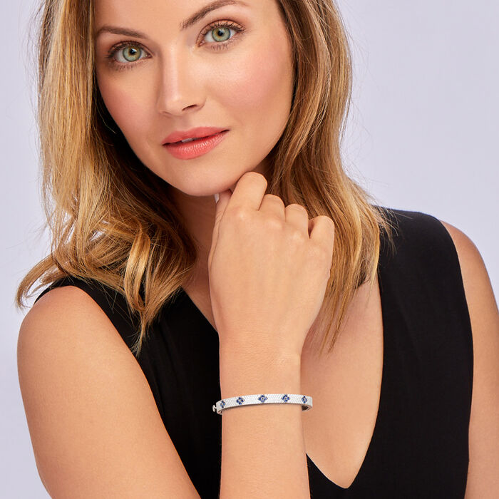 Roberto Coin 1.75 ct. t.w. Diamond and .60 ct. t.w. Sapphire Bangle Bracelet in 18kt White Gold