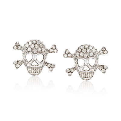 C. 2005 Vintage .80 ct. t.w. Diamond Skull and Crossbone Earrings in 18kt White Gold , , default