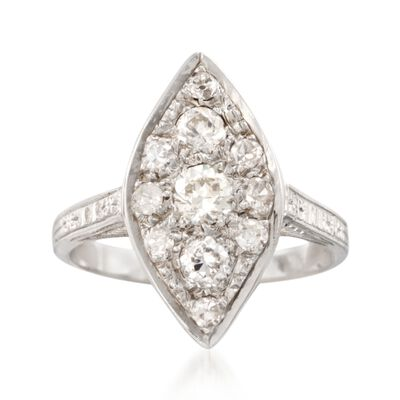 C. 2000 Vintage .65 ct. t.w. Diamond Navette Ring in 14kt White Gold, , default