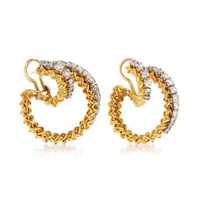 C. 1980 Vintage 2.20 ct. t.w. Diamond Double-Hoop Earrings in 14kt Yellow Gold