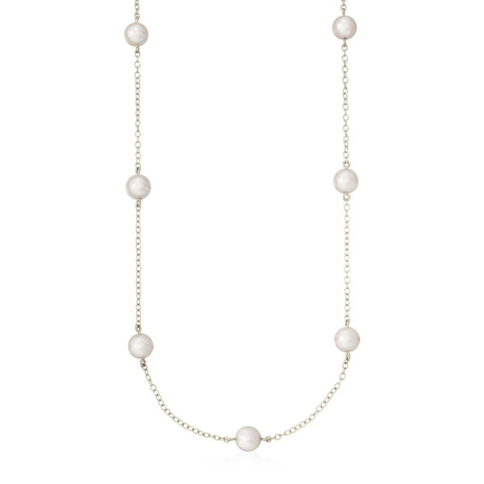 "Mikimoto Akoya Pearl Necklace in 18-Karat White Gold. 18"", , default"
