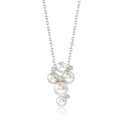 "Mikimoto ""Bubbles"" 4.7-6.2mm A+ Akoya Pearl Cluster Necklace with Diamond Accents in 18kt White Gold"