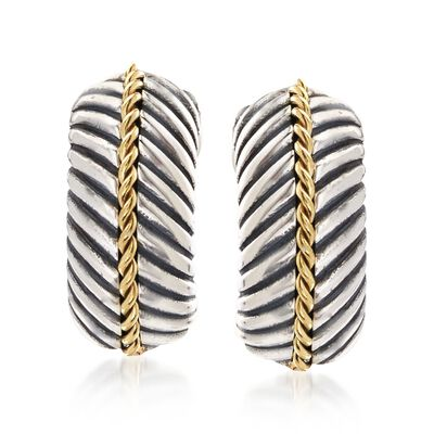 "Phillip Gavriel ""Italian Cable"" Sterling Silver and 18kt Gold Half Hoop Earrings"