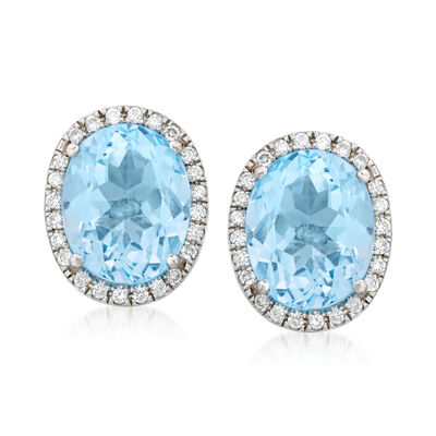 C. 1990 Vintage 6.30 ct. t.w. Sky Blue Topaz and .30 ct. t.w. Diamond Earrings in 18kt White Gold