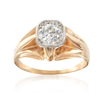 C. 1960 Vintage .60 Carat Diamond Ring in 14kt Yellow Gold, , default