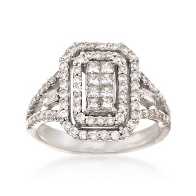 C. 1990 1.55 ct. t.w. Diamond Rectangle Ring in 18kt White Gold, , default