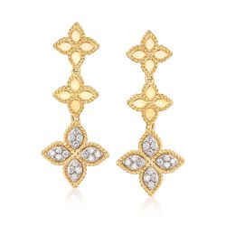 "Roberto Coin ""Princess"" .37 ct. t.w. Diamond Flower Drop Earrings in 18kt Two-Tone Gold, , default"