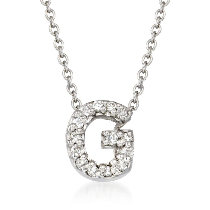 "Roberto Coin Tiny Treasures Diamond G Necklace in 18-Karat White Gold. 16"", , default"