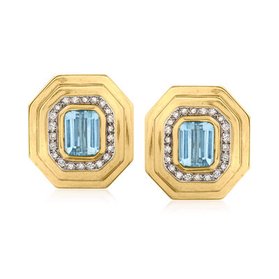C. 1980 Vintage 9.00 ct. t.w. Sky Blue Topaz and .75 ct. t.w. Diamond Earrings in 14kt Yellow Gold