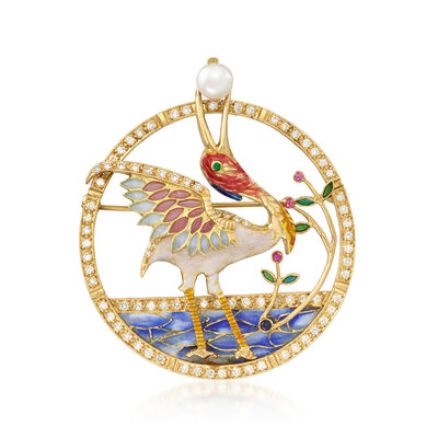 C. 1990 Vintage 6mm Cultured Pearl, 1.10 ct. t.w. Diamond and Enamel Bird Pin/Pendant with Multi-Gem Accents in 18kt Yellow Gold