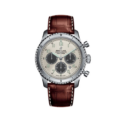 Breitling Navitimer 8 B01 Chronograph Men's 43mm Stainless Steel Watch - Brown Leather Strap, , default