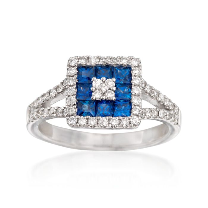 Gregg Ruth .75 ct. t.w. Sapphire and .43 ct. t.w. Diamond Ring in 18kt White Gold
